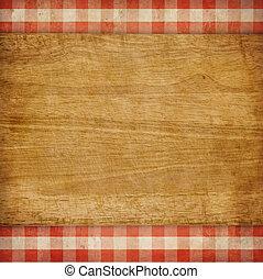 ギンガム, ピクニック, 上に, まな板, 背景, グランジ, チェックされた, テーブルクロス, 赤