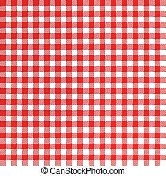 ギンガム, ピクニック, pattern., seamless, 物語, 布, tablecloth., vector., 赤, イタリア語