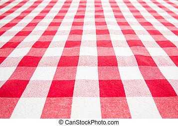 ギンガム, 上, 空, テーブル, カバーされた, テーブルクロス, 赤, 光景