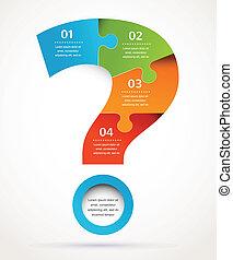 クエスチョンマーク, 抽象的なデザイン, そして, infographics, 背景
