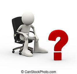 クエスチョンマーク, 3d, 人間が座る, 椅子