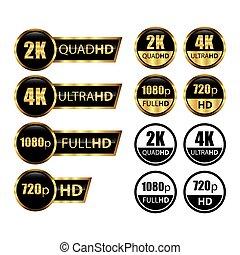 クォード, 定義, 決断, /, 2k, 4k, ultra, ビデオスクリーン, hd, ゲーム, 高く, tv, 金, フルである, hd, アイコン, ラベル, logo;, ディスプレイ, モニター, 1080p, 720