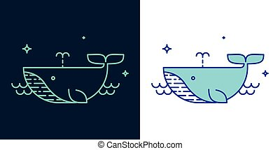 クジラ, スタイル, ベクトル, 線である, アイコン