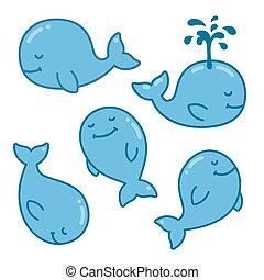 クジラ, セット, 漫画