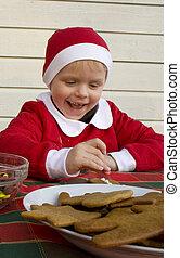 クッキー, アイシング, chocolates., (3, 年, 子供, old), gingerbread, 飾り付ける