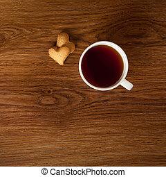 クッキー, カップ, 木製である, お茶, 暑い, テーブル