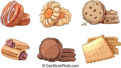 クッキー, セット, アイコン, スタイル, ベクトル, 漫画