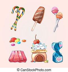 クッキー, セット, スタイル, 甘いもの, ベクトル, 漫画