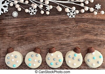 クッキー, ダブル, 装飾, チョコレート, 白, ボーダー, クリスマス