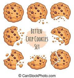 クッキー, チョコレート, セット, かまれた, チップ