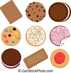 クッキー, ベクトル, コレクション, イラスト, biscuits.