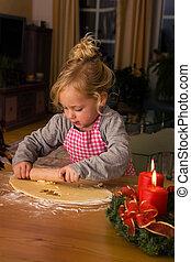 クッキー, 到来, 子供, の間, 焼きなさい, クリスマス