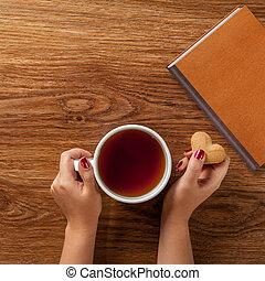 クッキー, 女, カップ, お茶, 暑い, 保有物