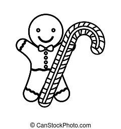 クッキー, 杖, シルエット, クリスマス, キャンデー