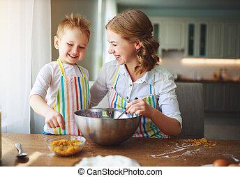 クッキー, 生地, 準備, 子供, 家族, kitchen., 焼きなさい, 幸せ, 母