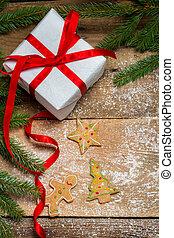 クッキー, 贈り物, 囲まれた, トウヒ, gingerbread, クリスマス