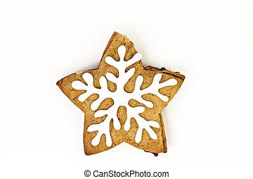 クッキー, 隔離された, ショウガ, 糖衣, 休日, 白