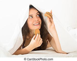 クッキー, 食べること, チップ, チョコレート, 甘い, 女