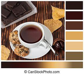 クッキー, coffee., カップ, 木製である, お茶, 色, パレット, ∥あるいは∥, 暗い,...