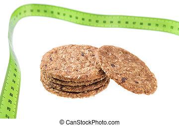 クッキー, loss., 背景, 重量, 食事, オートミール, measure., メートル