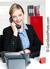 クライアント, 出席, 呼出し, かなり, 机, 前部, 女性