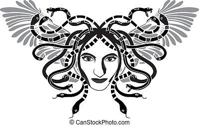 クラゲ, gorgon, 頭, 翼