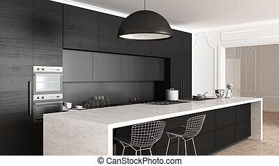 クラシック, 台所, の上, minimalistic, 内部, 終わり, デザイン