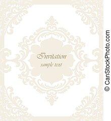 クラシック, 型, 招待, ベクトル, 結婚式, カード