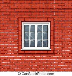 クラシック, 壁フレーム, 窓, れんが, 白い赤
