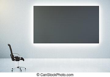 クラシック, 壁, ポスター, ブランク, の上, 革, 黒, 椅子, 白, mock