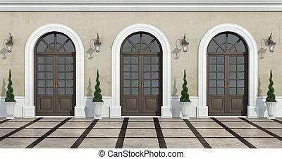 クラシック, 家, 中庭