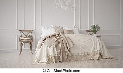 クラシック, 寝室, minimalistic, インテリア・デザイン, 白