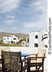 クラシック, 島, ホテル, ios, ギリシャ建築, 中庭, 光景