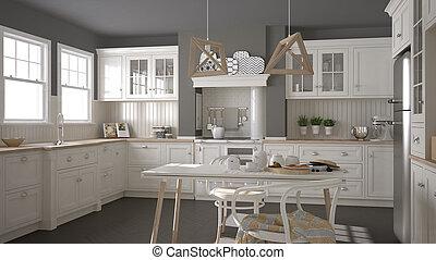 クラシック, 木製である, スカンジナビア人, 詳細, デザイン, minimalistic, 内部, 白, 台所
