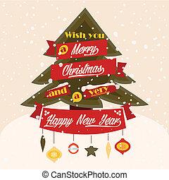 クラシック, 木, そして, 落ちる, 雪, 挨拶, card.