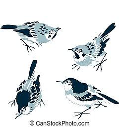 クラシック, 東洋人, 鳥, イラスト