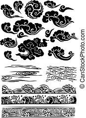 クラシック, 雲, 海水, splat