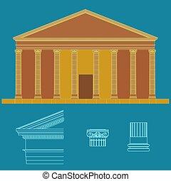 クラシック, columns., 寺院, ギリシャ語, ローマ人, ∥あるいは∥