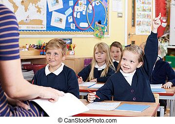 クラス, の, 小学校, 生徒, 答えている質問