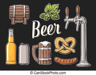 クラス, セット, 缶, ソーセージ, プレッツェル, ビール, hop., びん, 蛇口, 樽