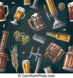クラス, パターン, 缶, seamless, ビール, hop., びん, 蛇口