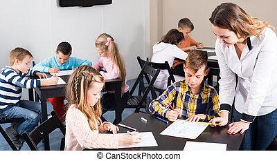 クラス, 子供, 年齢, 図画, 教師, 基本