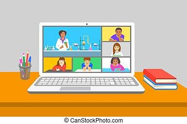 クラス, 教育, オンラインで, 化学, テレコンファレンス