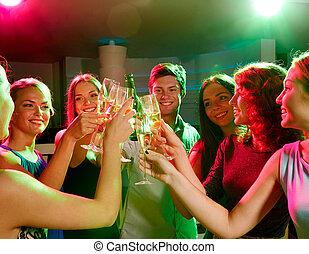 クラブ, ビール, 微笑, ワイン, 友人, ガラス