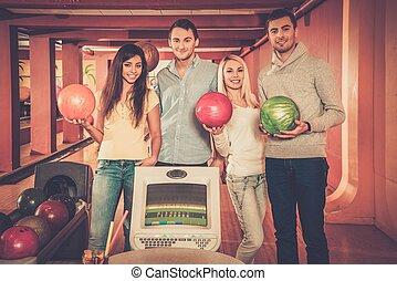 クラブ, ボウリング, グループ, 若い人々