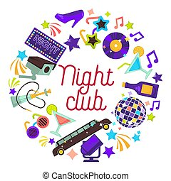 クラブ, ポスター, ベクトル, 夜, パーティー, 祝福