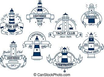 クラブ, ヨット, emblem., 海事, バッジ, lighthouse.