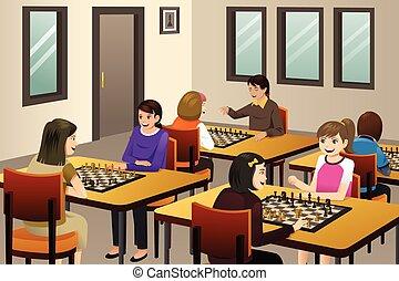 クラブ, 女の子, チェス, 遊び