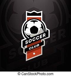 クラブ, 暗い, サッカー, ロゴ, バックグラウンド。