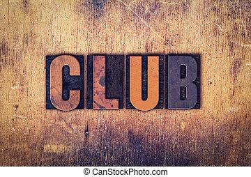 クラブ, 概念, 木製である, 凸版印刷, タイプ